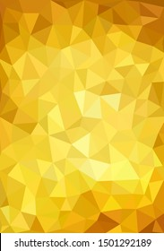 low poly geometric background of colored triangles of different sizes and autumn yellow and gold colors. multicolor triangulation background. vector illustration