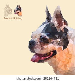 Low poly geometric of french bulldog head,vector triangular styles
