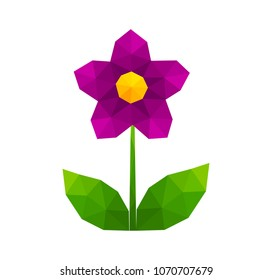 Low poly geometric purple flower. Vector illustration