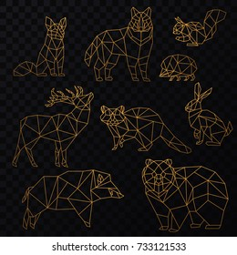Low poly golden line animals set. Origami poligonal gold line animals. Wolf bear, deer, wild boar, fox, raccoon, rabbit and hedgehog on the transperant background.