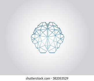 Low Poly graphic design vector of the anatomical shape of the brain.