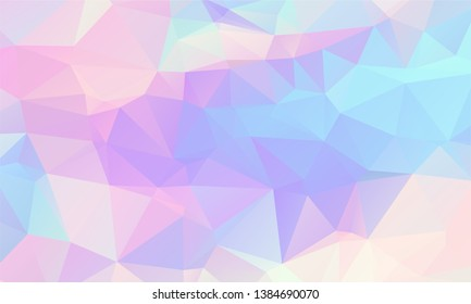 Low poly grid abstract holographic background with polygons, triangles. Holographic paper geometric pattern, tile backdrop. Fashion magazine cover background with neon metallic gradient hologram.