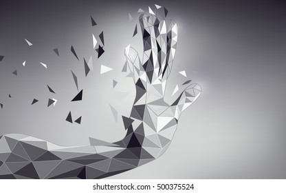 low poly hand reaching; scientific analysis; futuristic background; abstract technology backdrop; black and white digital theme; polygon hand in technological looks