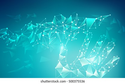 low poly hand touching abstract connected lines, concept of global network or communication world