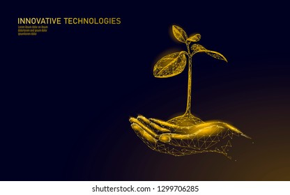 Low poly hands holding golden tree sprout. Wealth prosperity saving money growing income profit. Grow economy business concept polygonal triangle 3D symbol vector illustration