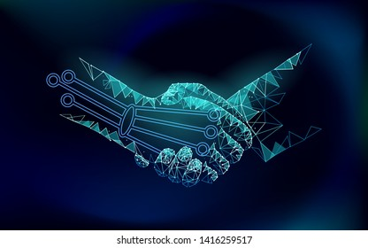 Low poly handshake future industrial revolution concept. AI artificial and human union. Online technology agreement industry management. 3D polygonal system vector illustration