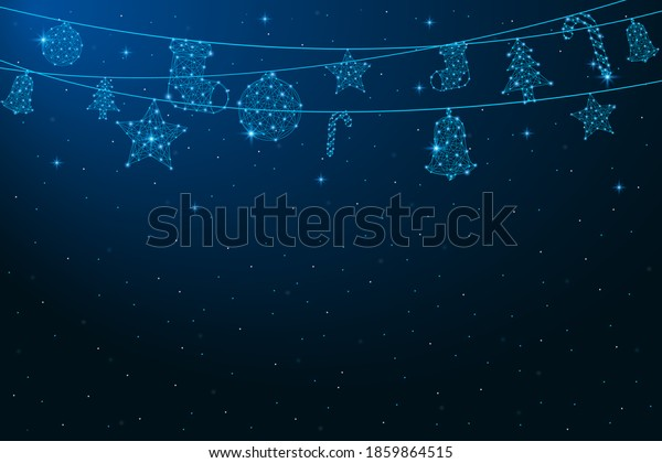 Low poly hanging Christmas decorations. Merry Christmas and New Year banner. Xmas balls made by polygonal wireframe mesh. Holiday background. Vector.