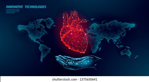 Low poly heart health day. Global world map cardiac awareness medicine banner anatomical health blood system test. Doctor online consultation vector illustration