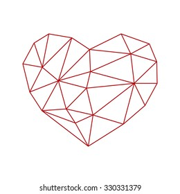 low poly heart icon isolated on white background. vector illustration