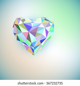 Low poly heart isolated on white background. Geometric rumpled triangular low poly origami style gradient graphic illustration. Vector polygonal design for your business.