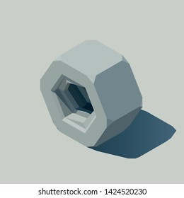 Low poly hex nut vector illustration. Isometric illustration of a hex nut.