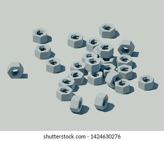 Low poly hex nuts vector illustration. Isometric illustration of a hex nuts.