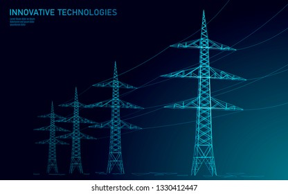 Low poly high voltage power line silhouette. Electricity supply industry pylons outlines on dark night blue sky. Innovation ecectrical technology banner template vector illustration