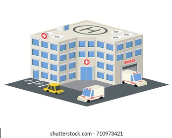 Low poly hospital building. Vector isometric clinic with emergency car and helipad on the roof.