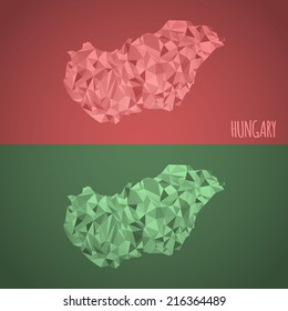 Low Poly Hungary Map with National Colors - Infographic - Vector Illustration