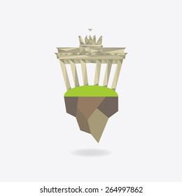 Low Poly icon city - Berlin, Brandenburg Gate. Vector illustration.