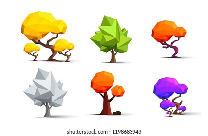 Low Poly icon set types of trees - apple tree, fir, acacia, baobab, oak, palm. Vector icon.