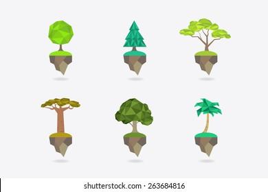 Low Poly icon set types of trees - apple tree, fir, acacia, baobab, oak, palm. Vector icon.