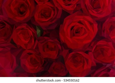 Low poly illustration background of dark red luxury blooming roses close up