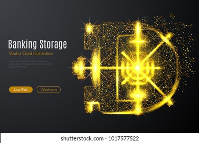 Low poly illustration of the bank vault door with a golden dust effect. Sparkle stardust. Glittering vector with gold particles on dark background. Polygonal wireframe finance concept