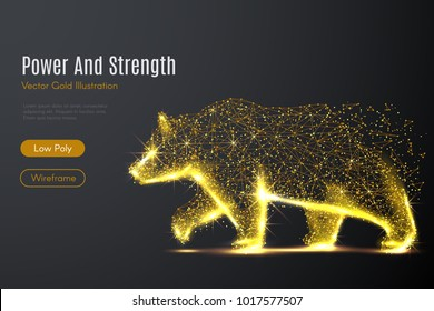 Low poly illustration of the Bear with a golden dust effect. Sparkle stardust. Glittering vector with gold particles on dark background. Polygonal wireframe from dots and lines. Concept of the Power