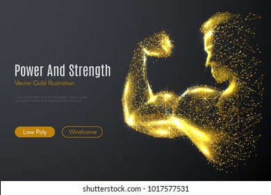 Low poly illustration of the biceps with a golden dust effect. Sparkle stardust. Glittering vector with gold particles on dark background. Polygonal wireframe from dots and lines.