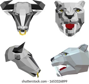 low poly illustration of  bull head with a nose ring and saber-toothed tiger head, sketch vector graphic color illustration on white background