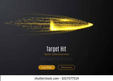 Low poly illustration of the bullet with a golden dust effect. Sparkle stardust. Glittering vector with gold particles on dark background. Polygonal wireframe from dots and lines.