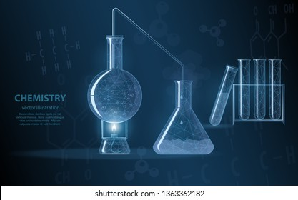 Low poly illustration of a chemical experiment. The course of a chemical reaction is the basis of the science of chemistry, on a dark background with chemical formulas and molecules.