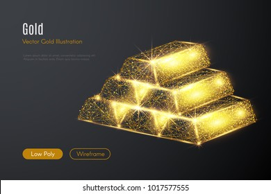 Low poly illustration of the gold bars with a golden dust effect. Sparkle stardust. Glittering vector with gold particles on dark background. Polygonal wireframe from dots and lines.