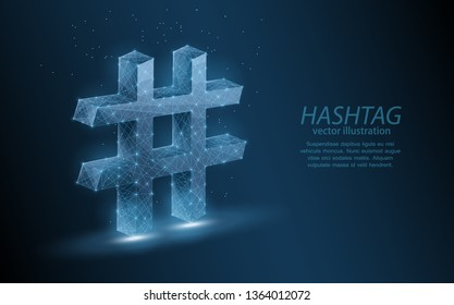Low poly illustration of a hashtag sign, on dark background.