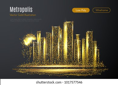 Low poly illustration of the metropolis with a golden dust effect. Sparkle stardust. Glittering vector with gold particles on dark background. Polygonal wireframe of city from dots and lines.