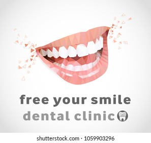 low poly illustration of a smile, with the slogan free your smile for dental clinic. vector