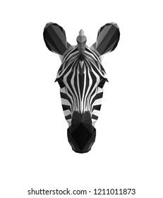 Low poly illustration. Triangle zebra head. Polygonal art