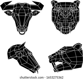 low poly illustration of two bulls head with a nose ring and two saber-toothed tiger heads, black sketch vector graphic illustration on white background