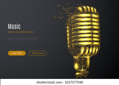 Low poly illustration of the Vintage microphone with a golden dust effect. Sparkle stardust. Glittering vector with gold particles on dark background. Polygonal wireframe from dots and lines.