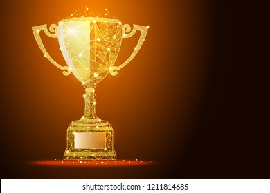 Low poly illustration of the winner cup a golden dust effect. Polygonal wireframe from dots and lines, abstract design. Digital graphics vector illustration. For Poster, Cover, Label, Business Card