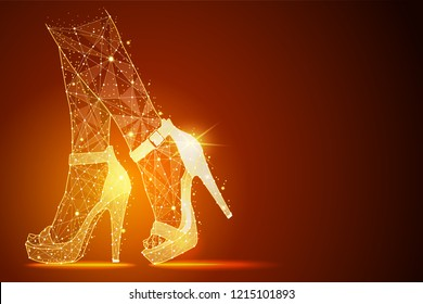 Low poly illustration of the women's legs in shoes, high heels a golden dust effect. Polygonal wireframe from dots and lines.