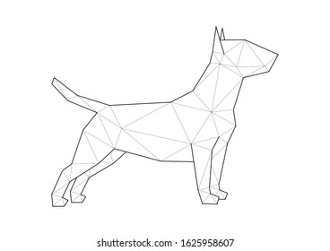Low poly illustrations of dogs. Bull Terrier standing on white background.