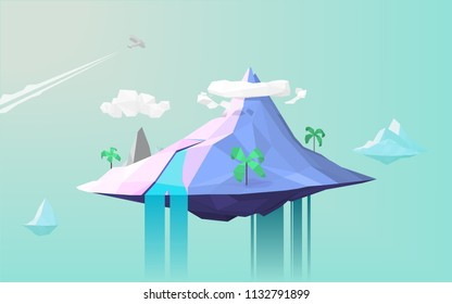 Low poly island landscape scenery vector illustration