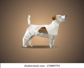Low poly jack russell dog - Vector illustration