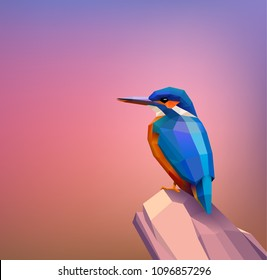 Low poly kingfisher sitting on a rock, eps10 vector