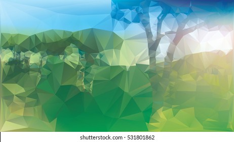 Low poly landscape with gradient color effects applied, everything is green and bathed in sunlight.
