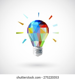 Low poly  light bulb Idea concept background design for poster flyer cover brochure