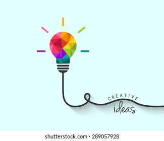 Low poly lightbulb as creative idea concept