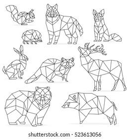 Low poly line animals set. Origami poligonal line animals. Wolf bear deer wild boar fox raccoon rabbit hedgehog