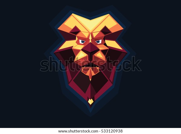 Low poly Lion face abstract background design. Vector illustration