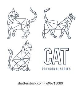 LOW POLY LOGO ICON CAT PET TRIANGLE MODERN POLYGONAL SET