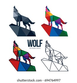 LOW POLY LOGO ICON SYMBOL TRIANGLE WOLF POLYGONAL