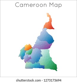 Low Poly map of Cameroon. Cameroon geometric polygonal, mosaic style map.